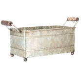 Rectangle Galvanized Metal Container with Wood Handles